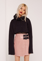 Missguided Pink Buckle Detail Faux Leather Asymmetric Skirt
