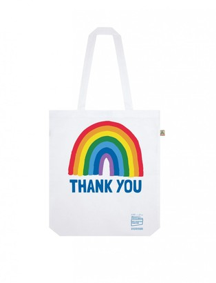 Little Mistress X Kindred Rainbow Thank You Nhs White Rainbow Shopper Tote Bag