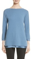 Lafayette 148 New York Women's Charmeuse Trim Cashmere Sweater