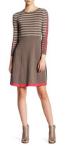 Eliza J Striped Knit A-Line Sweater Dress