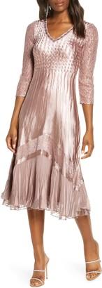 Komarov Charmuse & Chiffon A-Line Dress