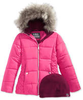 Hawke & Co Abbey Hooded Puffer Jacket with Faux-Fur Trim, Big Girls