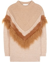 Stella McCartney Knitted Wool And Faux Fur Sweater