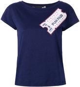 Love Moschino ticker print T-shirt - women - Cotton/Modal - 42