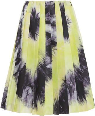 Prada Tie-Dye Pleated Silk-Satin Skirt