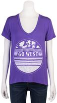 Juniors' Grayson Threads High-Low V-Neck Graphic Tee