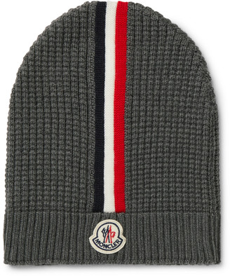 Moncler Logo-Appliqued Striped Waffle-Knit Virgin Wool Beanie