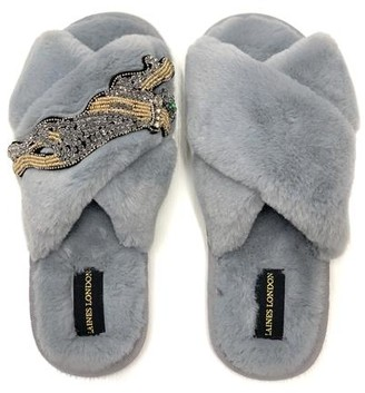 Laines London - Platinum Panther Slippers Grey - small