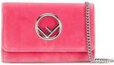 Fendi candy pink velvet wallet on chain mini bag