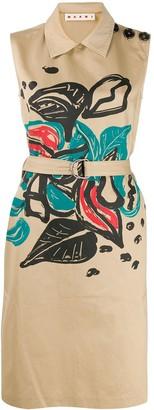 Marni floral print sleeveless midi dress
