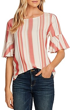 Vince Camuto Flutter Cuff Striped Top