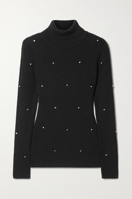 Christopher Kane Crystal-embellished Ribbed Merino Wool Turtleneck Sweater - Black