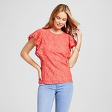 Merona Women's Lace Ruffle Sleeve Top