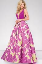 Jovani Plunging Neckline Pleated Prom Ballgown 48923