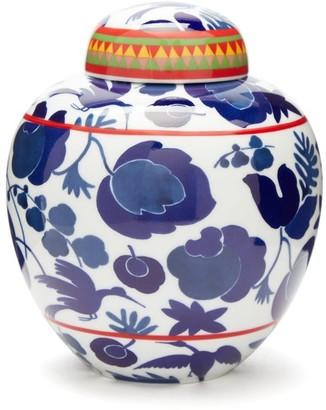 La DoubleJ Wildbird Gilded-porcelain Tea Jar - White Print