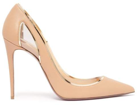 Christian Louboutin Cosmo 554 Tan Leather And Perspex Pumps - Womens - Nude