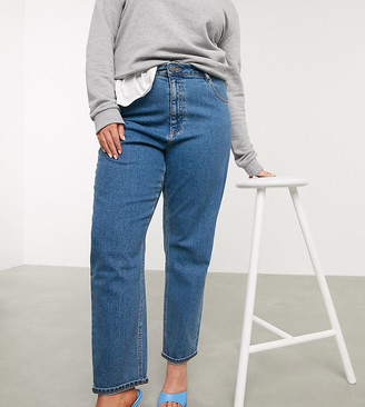 ASOS DESIGN Curve recycled high rise farleigh 'slim' mom jeans in dark wash