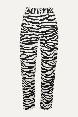 ATTICO The Cropped Zebra-print High-rise Tapered Jeans - Zebra print