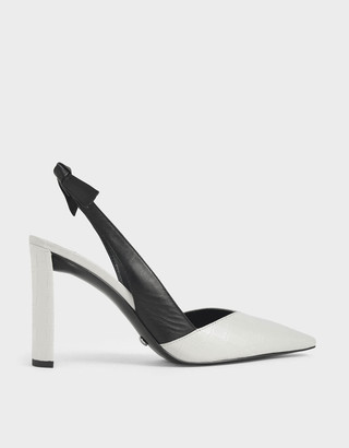 Charles & KeithCharles & Keith Leather Croc-Effect Bow-Slingback Heels