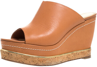 Paloma Barceló Tan Leather Mule Platform Wedge Sandals Size 39