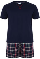 Yours Clothing BadRhino Plus Size Mens Cotton Top Plain Brushed Check Short Loungewear Set