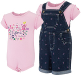 Carhartt Pink Bodysuit & Classic Wash Floral Overalls - Infant