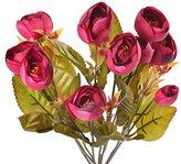 Souarts Fuchsia Camellia Bud Artificial Flower For Wedding Decoration Home Décor 40cm