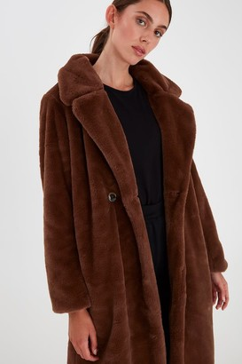 Ichi Faux Fur Chocolate Coat - 36