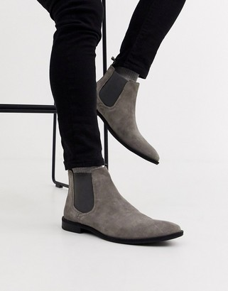 Asos DESIGN chelsea boots in gray suede with black sole