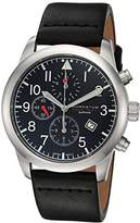 Momentum Men's 'Chronograph Collection' Quartz Stainless Steel and Leather Casual Watch, Color:Black (Model: 1M-SN34BS3B)