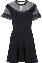 RED Valentino Lace And Point D'esprit-paneled Stretch-knit Mini Dress - Black