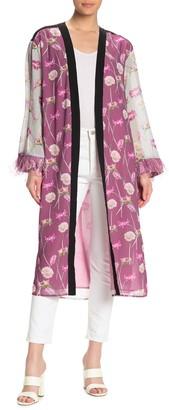 Endless Rose Floral Print Feather Sleeve Kimono