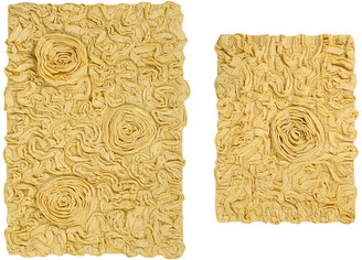 "Home Weavers Inc. Bellflower 2 Piece Bath Rug, 17""x24"", 21""x34"", Yellow"