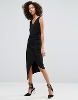 Liquorish Black Sleeveless Asymmetric Ruched Dress With V Neck