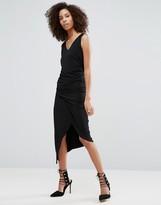 Liquorish Black Sleeveless Asymmetric Ruched Dress With V Neck