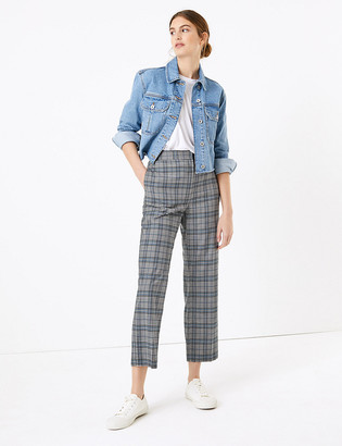 Marks and Spencer Evie Straight Leg Checked 7/8 Trousers
