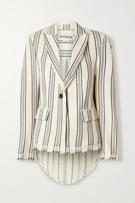 Monse Paneled Striped Cotton-blend Canvas And Linen-blend Blazer - Cream