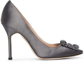 Manolo Blahnik Hangisi 105 dark grey satin pumps