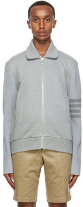Thom Browne Grey French Terry 4-Bar Bomber Jacket