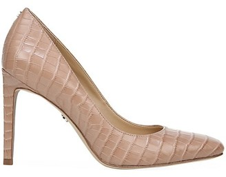 Sam Edelman Beth Square-Toe Croc-Embossed Leather Pumps