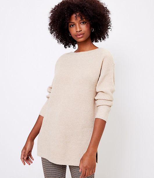 LOFT Ribbed Boatneck Tunic Sweater