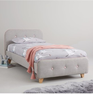 Charlie Piped Fabric Kids Single Bed with Mattress Options (Buy and SAVE!)