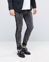 Asos Super Skinny Jeans With Tux Stripe In Washed Black