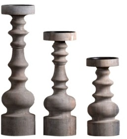 """Villa2 Bellini Candle Solid Wood 3"""" Dia Candle Holder Stand in Vintage-Inspired Finish Set of 3"""