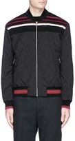 McQ Stripe yoke quilted puffer bomber jacket