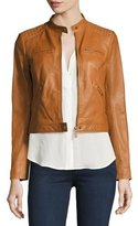 Joie Dezra Leather Moto Jacket, Vintage Cognac