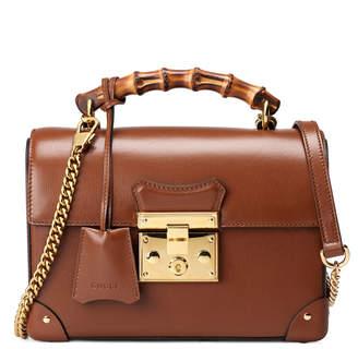 Gucci Padlock Small GG Flora Bamboo Top-Handle Shoulder Bag
