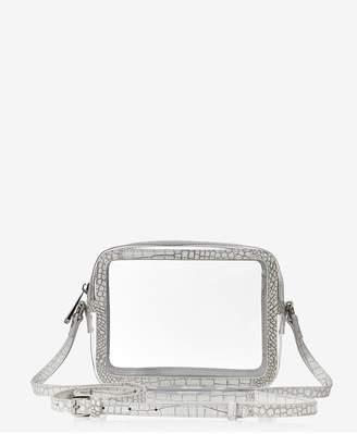 GiGi New York Collins Crossbody In Clear Bag With White Croco Trim