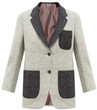 Thom Browne Patch-pocket Herringbone Wool-tweed Blazer - Grey