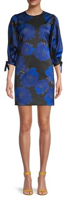 Cynthia Rowley Peony-Print Stretch-Brocade Mini Dress